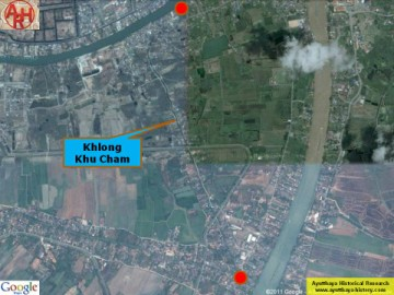 Khlong Khu Cham on an aerial map