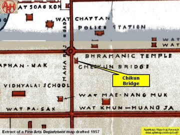 Chikun Bridge on a 1957 Fine Arts Department map