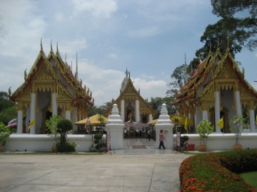 View of the ubosot and adjacent vihara