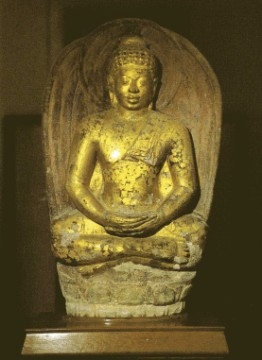 Dvaravati sandstone Buddha image excavated at the temple's site