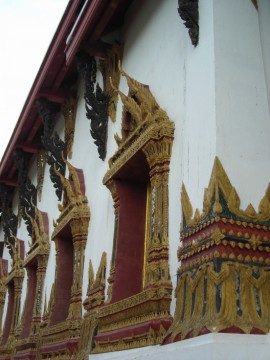 Decorated windows of a monastic structure at Wat Suwandararam